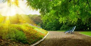 Kolorowy flowerbed i miejsce na pogodnym popołudniu dla odpoczynku Zdjęcia Stock