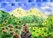 Kolorowy góra krajobraz z dużą śnieżną górą ilustracji