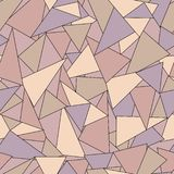 Kolorowy geometryczny abstrakcjonistyczny bezszwowy wzór z fiołka, różanych i brązu trójbokami, royalty ilustracja