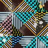 Kolorowy geometryczny nowożytny wektorowy bezszwowy wzór Jaskrawy modny powtórki tło z lampasami, zygzag, linie, fale, trójboki, ilustracja wektor