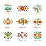 Kolorowy geometryczny ornamentu set, abstrakcjonistyczne logów elementów wektoru ilustracje royalty ilustracja