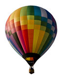 Kolorowy gorące powietrze balon odizolowywający przeciw bielowi Zdjęcie Royalty Free