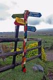 Kolorowy guidepost w equador Zdjęcia Royalty Free