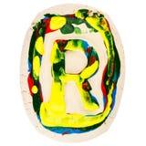 Kolorowy handmade biały glina list R Obrazy Stock