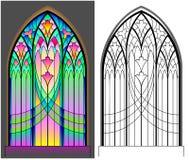 Kolorowy i czarny i biały wzór Gocki witrażu okno Worksheet dla dzieci i dorosłych Obraz Stock