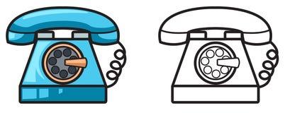 Kolorowy i czarny i biały telefon dla kolorystyki książki ilustracji