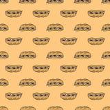 Kolorowy i jaskrawy bezszwowy wzór z jedzeniem Zdjęcie Stock