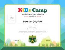 Kolorowy i nowożytny świadectwo uczestnictwo dla dzieciak aktywność royalty ilustracja
