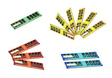 Kolorowy Ilustracyjny Ustawiający Komputerowa RAM ikona Zdjęcie Royalty Free