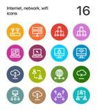Kolorowy internet, sieć, wifi ikony dla sieci i mobilna projekt paczka 2, obrazy stock