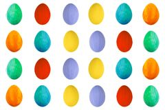 Kolorowy jajko na odosobnionym białym tle Szczęśliwy Wielkanocny Handmade malujący koloru Jajeczny makro-, set Obrazy Stock