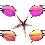Kolorowy jaskrawy uroczy wygody lata plaży wzór kolorowa okularów przeciwsłonecznych i rozgwiazd akwarela ilustracja wektor