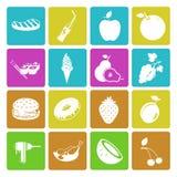 Kolorowy jedzenia i owoc ikony set Obrazy Stock