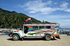 Kolorowy jeepney Philippines miejscowego transport Fotografia Royalty Free