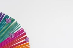 Kolorowy kadzidło na białym tle Fotografia Royalty Free