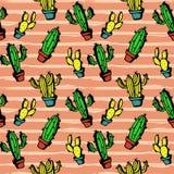 Kolorowy kaktusa wzór z wspaniałym rysunku stylem dla dzieci modna tkanina, druk i opakowanie, royalty ilustracja