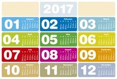 Kolorowy kalendarz dla roku 2017 Obraz Stock