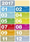 Kolorowy kalendarz dla roku 2017 Zdjęcie Stock