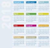 Kolorowy kalendarz dla roku 2018 Zdjęcia Stock