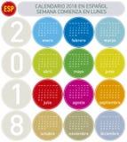 Kolorowy kalendarz dla roku 2018 w hiszpańszczyznach, Obraz Stock