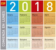 Kolorowy kalendarz dla roku 2018 w hiszpańszczyznach, Obraz Royalty Free
