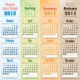 Kolorowy 2015 kalendarz na sezonach ilustracji