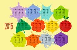 Kolorowy kalendarz 2016 rok Zdjęcia Royalty Free