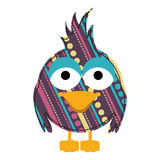 kolorowy karykatura ptak z teksturą i linia projektem kropkuje Obraz Stock