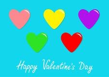 Kolorowy kierowy ikona set Szczęśliwy walentynka dnia znaka symbolu szablon Śliczny graficzny przedmiot Płaski projekta styl Koch Obraz Royalty Free