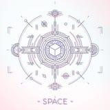 Kolorowy kreskowy geometryczny futurystyczny graficzny projekt fantastyka naukowa astro przestrzeni ilustraci pojęcie Obrazy Stock