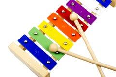 Kolorowy ksylofon Odizolowywający na bielu Obrazy Stock