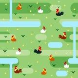 Kolorowy kurczak na zieleni pola wzorze Zdjęcia Royalty Free