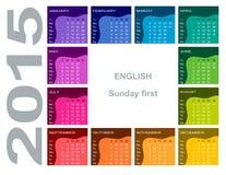 Kolorowy kurenda kalendarz 2015 Fotografia Stock