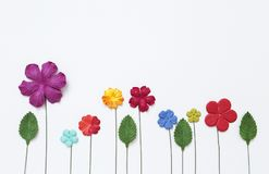 Kolorowy kwiatu papieru projekt z zielonym liściem na białego papieru tekstury tle Obrazy Royalty Free
