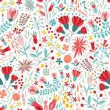 Kolorowy kwiecisty bezszwowy wzór z jagodami, liśćmi i kwiatami na białym tle, Dekoracyjny botaniczny tło ilustracja wektor
