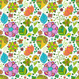Kolorowy kwiecisty bezszwowy wzór z liśćmi i Zdjęcia Stock
