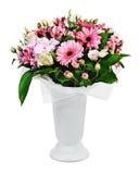 Kolorowy kwiecisty bukiet róż, leluj i orchidei przygotowania, Zdjęcia Royalty Free