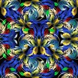 Kolorowy kwiecisty 3d wektorowy bezszwowy wzór wszystkie tła podkręć barok ilustracja wektor oddzielnie ilustracja wektor