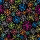 Kolorowy kwiecisty tło z dandelions, dekoracyjny płatek śniegu Fotografia Royalty Free