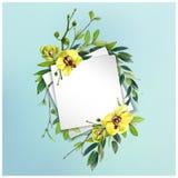 Kolorowy kwiecisty tło z pięknymi kwiatami Żółta orchidea i liście Zdjęcie Royalty Free