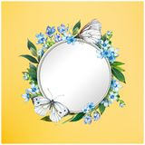 Kolorowy kwiecisty tło z pięknymi kwiatami Błękitni hortensja, motyl i liście, Fotografia Stock