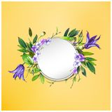 Kolorowy kwiecisty tło z pięknymi kwiatami Purpurowego Clematis kwiat, hortensja i liście, Obrazy Stock