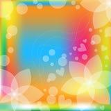 Kolorowy kwiecisty tło z sercami Fotografia Royalty Free