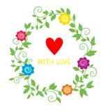 Kolorowy kwiecisty tło z kwiatami i sercem Zdjęcia Royalty Free