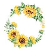 Kolorowy kwiecisty wianek z słonecznikami, liśćmi, ulistnieniem, gałąź, paproć liśćmi i miejscem dla twój teksta, royalty ilustracja