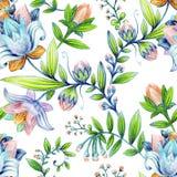 Kolorowy kwiecisty wzór Jaskrawi kwiaty tapetowi Fotografia Royalty Free