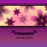 Kolorowy Kwiecisty wzór na Geometrycznym tle Fotografia Royalty Free