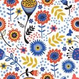 Kolorowy kwitnienie kwitnie bezszwowego wzór Obrazy Stock