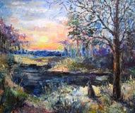 Kolorowy las z wilkiem zdjęcie stock