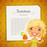 Kolorowy lata tło z blondynki damą Fotografia Royalty Free